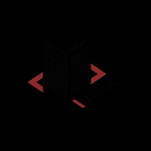 Logo mélangeant un journal et un bâtiment