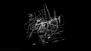 Schéma d'organisation urbaine sur un tableau noir